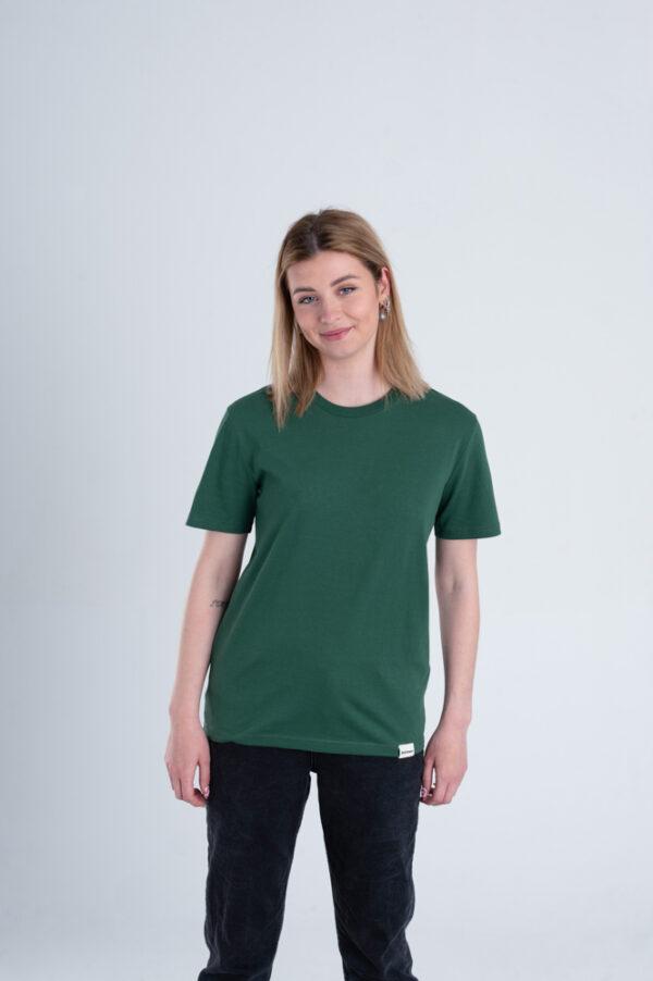 Vrouw met Duurzaam T-shirt Groen voorkant