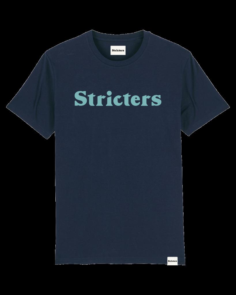 Blauw t-shirt met stricters logo