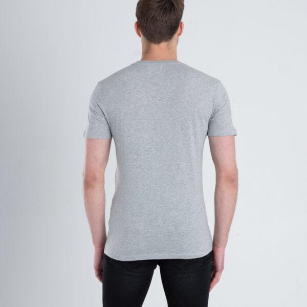 Duurzaam ondershirt / sportshirt met slim fit pasvorm grijs achterkant man
