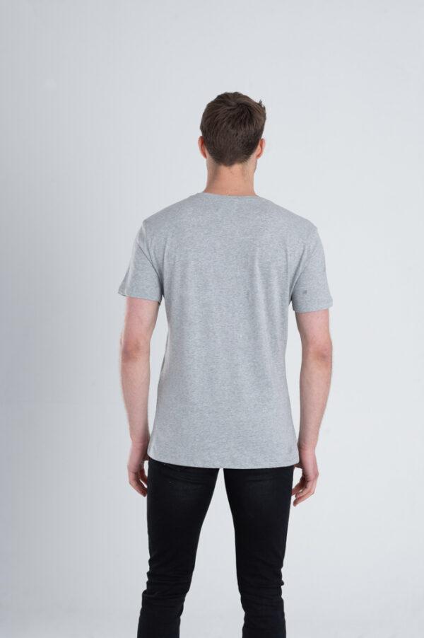 Duurzaam ondershirt / sportshirt met V-hals grijs achterkant man