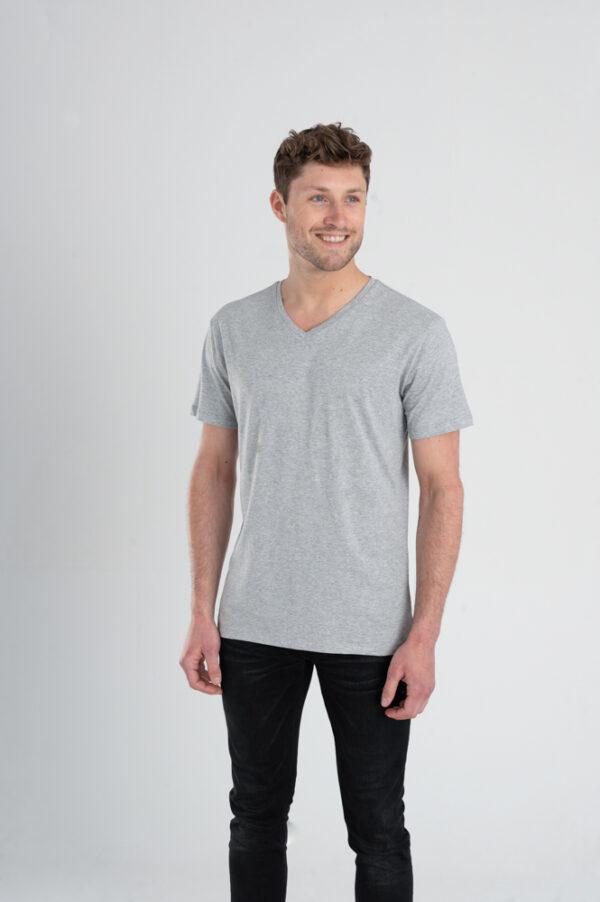 Duurzaam ondershirt / sportshirt met V-hals grijs man