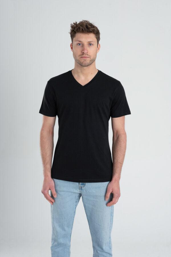 Duurzaam ondershirt / sportshirt met V-hals zwart voorkant man