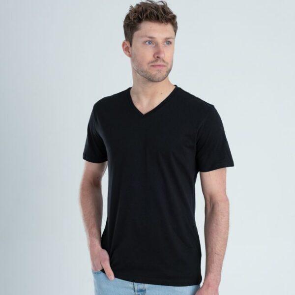 Duurzaam ondershirt / sportshirt met V-hals zwart man