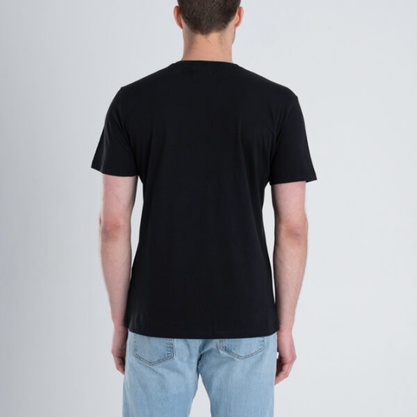Duurzaam ondershirt / sportshirt met V-hals zwart achterkant man