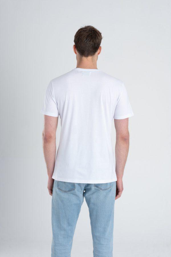 Duurzaam ondershirt / sportshirt met V-hals wit achterkant man