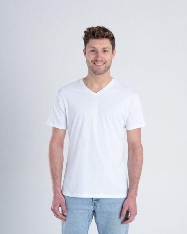 Duurzaam ondershirt / sportshirt met V-hals wit voorkant man