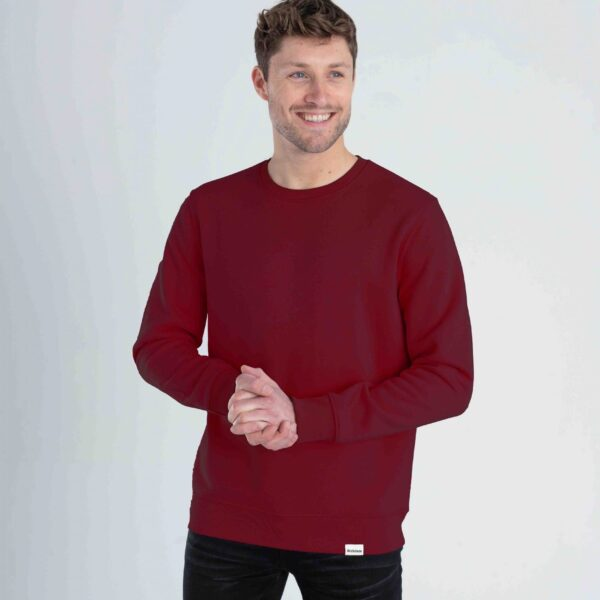 Wine red organic crewneck male front