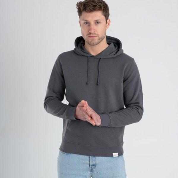 Duurzame hoodie trui Antraciet voorkant man