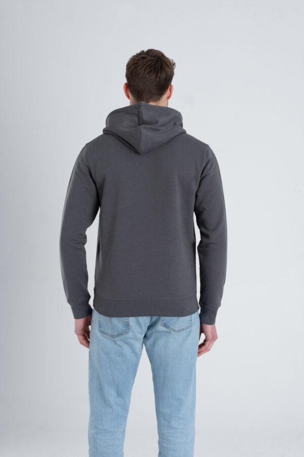 Duurzame hoodie trui Antraciet achterkant man