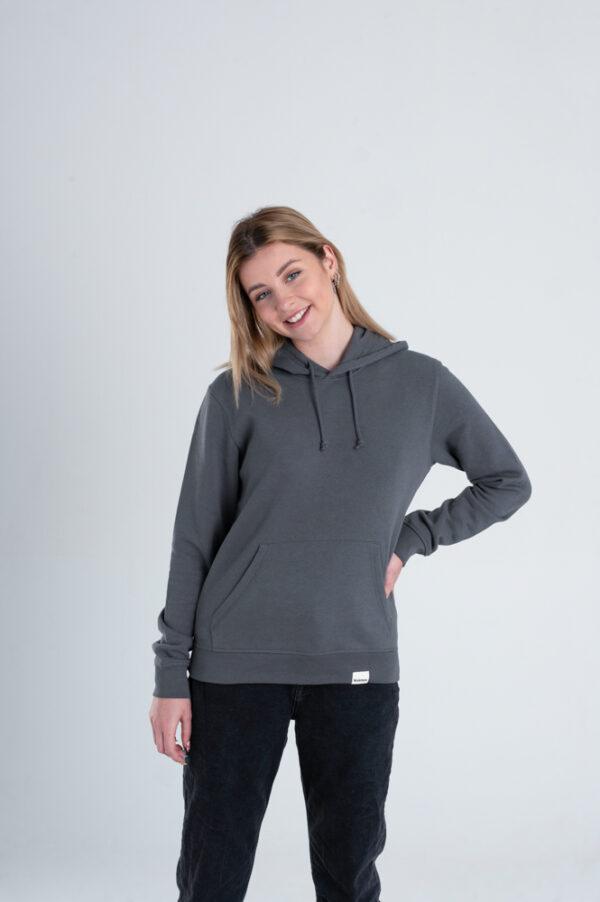 Duurzame hoodie trui Antraciet voorkant vrouw