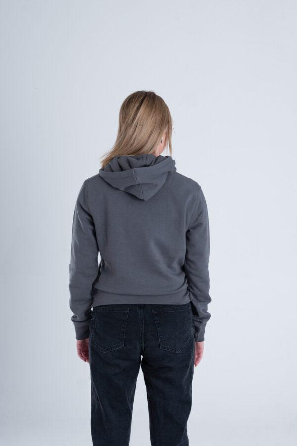 Duurzame hoodie trui Antraciet achterkant vrouw