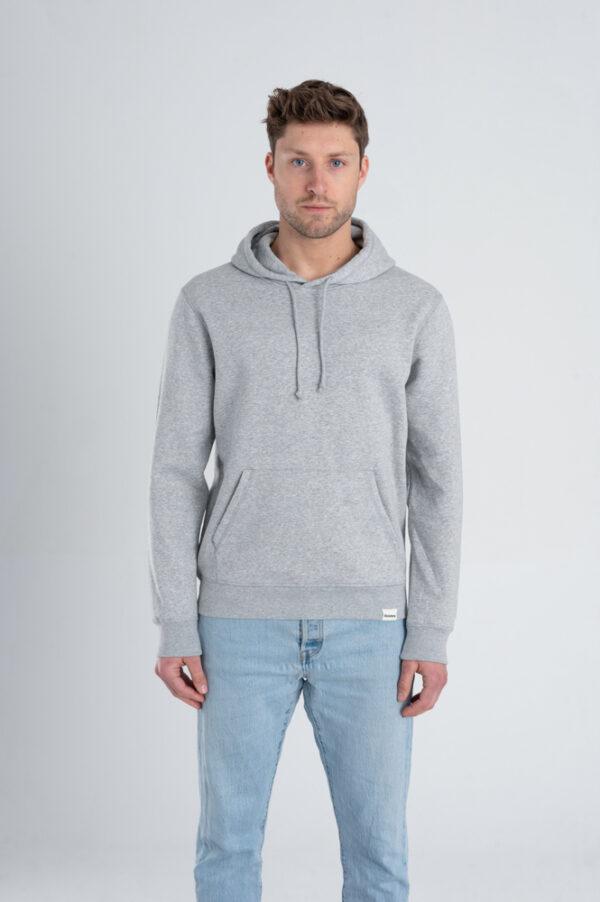 Duurzame hoodie trui Grijs voorkant man