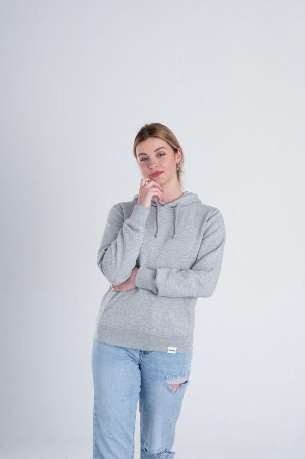 Duurzame hoodie trui Grijs voorkant vrouw