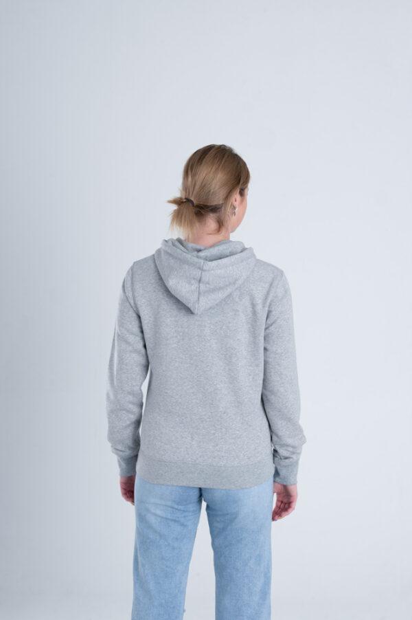 Duurzame hoodie trui Grijs achterkant vrouw