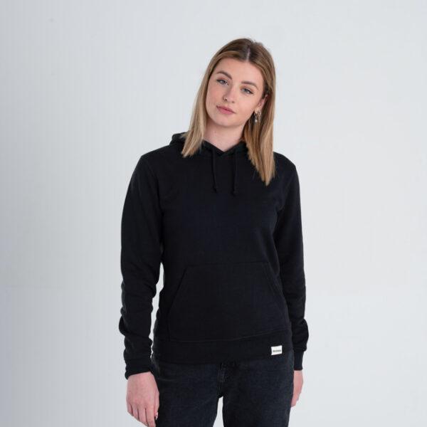 Duurzame hoodie trui Zwart voorkant vrouw