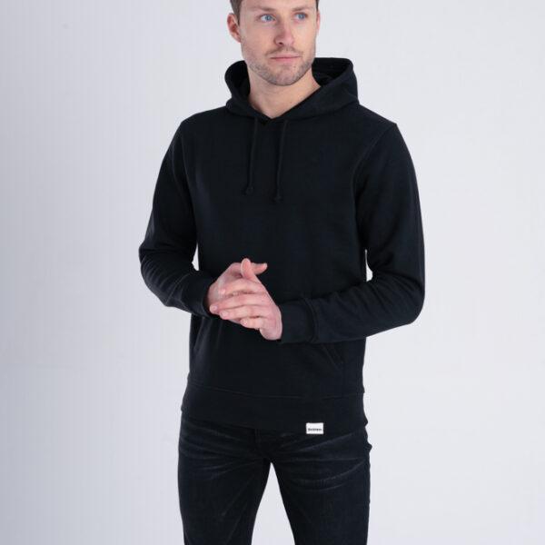 Duurzame hoodie trui Zwart voorkant man