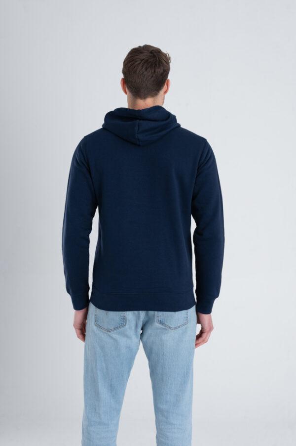 Duurzame hoodie trui Marineblauw achterkant man