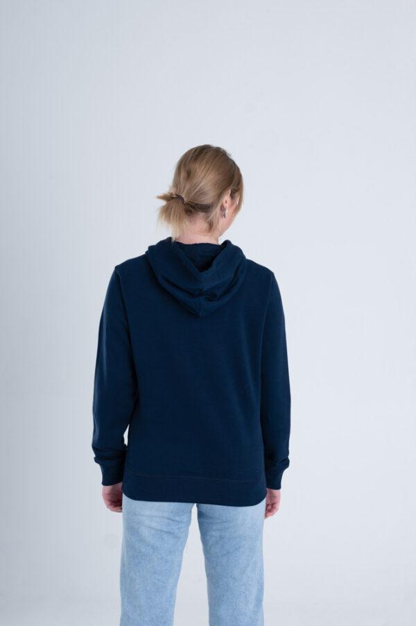 Duurzame hoodie trui Marineblauw achterkant vrouw