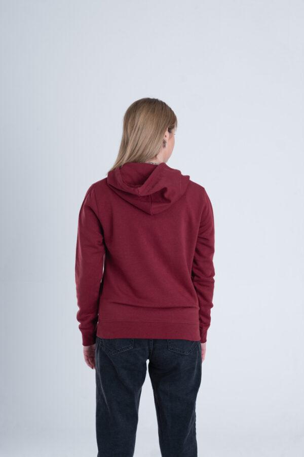 Duurzame hoodie trui bordeaux rood achterkant vrouw