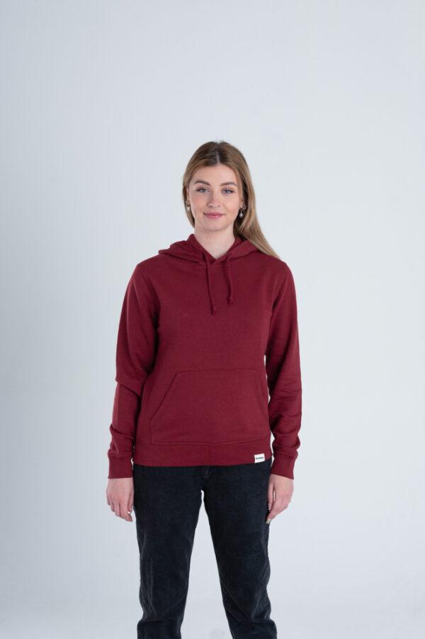 Duurzame hoodie trui Bordeaux rood voorkant vrouw