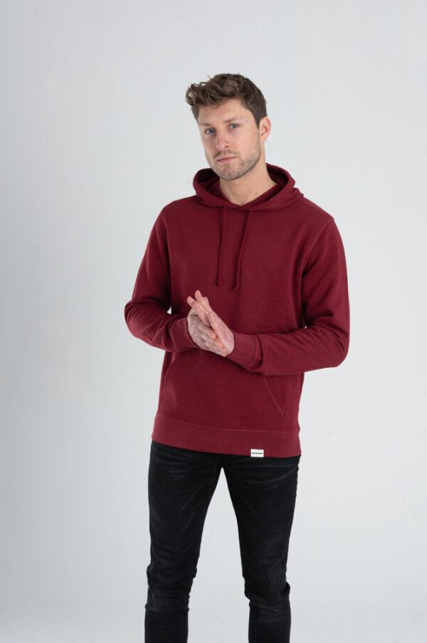 Duurzame hoodie trui Bordeaux rood voorkant man