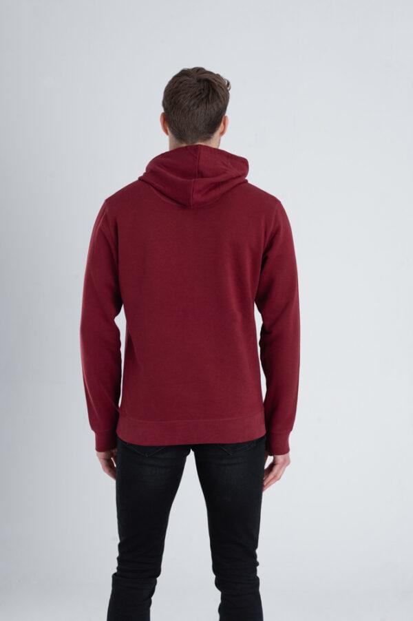 Duurzame hoodie trui Bordeaux rood achterkant man