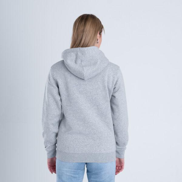 Vrouw met Duurzame premium hoodie trui grijs achterkant