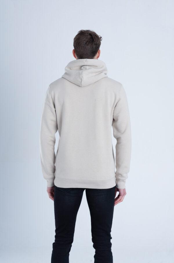 Duurzame premium hoodie trui Zandkleurig achterkant man