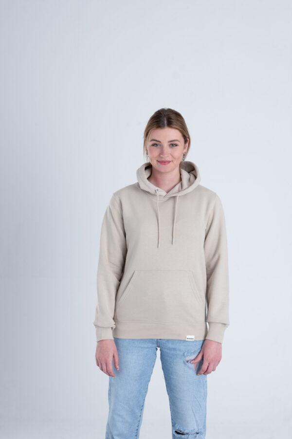Duurzame premium hoodie trui Zandkleurig voorkant