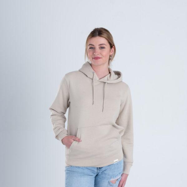 Duurzame premium hoodie trui Zandkleurig voorkant vrouw
