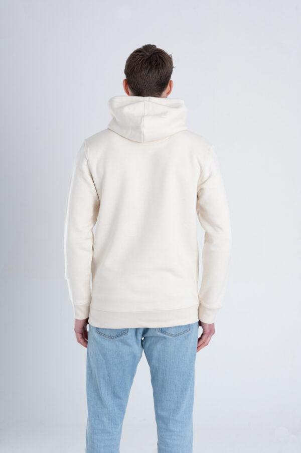 Duurzame premium hoodie trui Gebroken wit (ruw) achterkant man