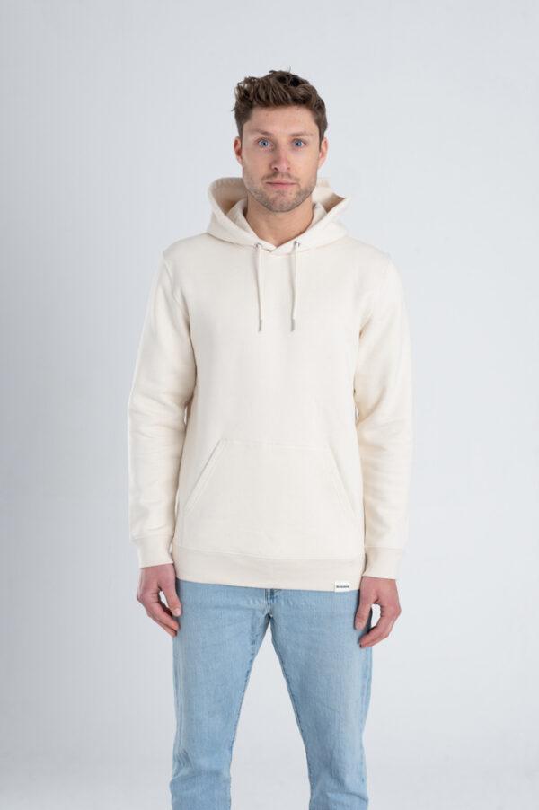 Duurzame premium hoodie trui Gebroken wit (ruw) voorkant man