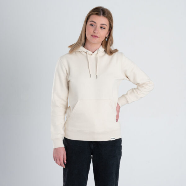 Duurzame premium hoodie trui Gebroken wit (ruw) voorkant vrouw