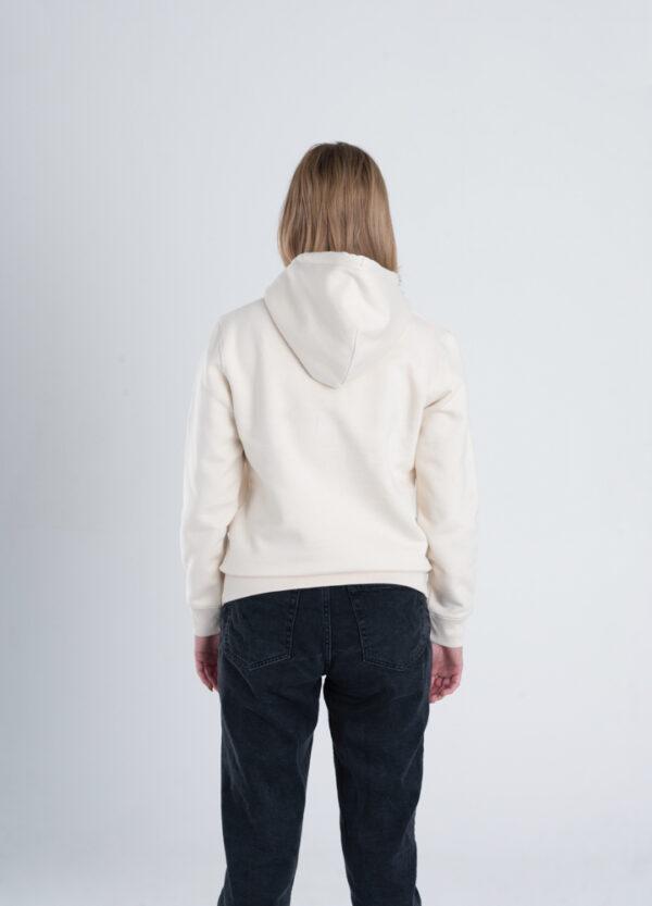 Duurzame premium hoodie trui Gebroken wit (ruw) achterkant vrouw